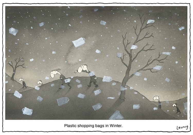 Plastic shopping bags in Winter